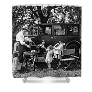 Family Camping Shower Curtain