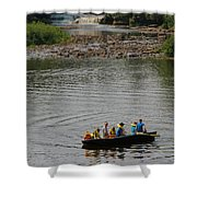 Family Canoeing At Lower Tahquamenon Falls Shower Curtain