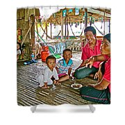 Family In Countryside Outside Of Siem Reap-cambodia Shower Curtain