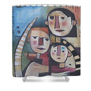 Family In Garden With Cat Shower Curtain