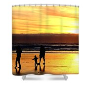 Family In The Yellow Spotlight Shower Curtain