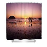 Family On Beach Face Rock Bandon Shower Curtain