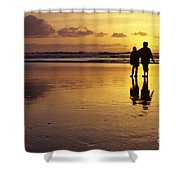 Family On Beach With Dog Sunset Shower Curtain