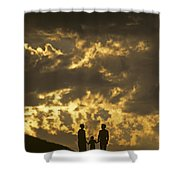 Family On Hillside Holding Hands And Facing Life Together. Shower Curtain
