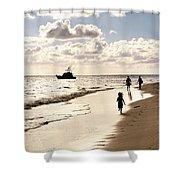 Family On Sunset Beach Shower Curtain