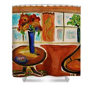 Family Room Corner Shower Curtain