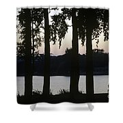 Family Silhouetted By Lake Shower Curtain