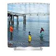 Family Surf Fishing In Kachemak Bay Off Homer Spit-ak Shower Curtain