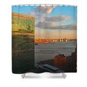 United Nations Secretariat With Chrysler Building Reflection Shower Curtain