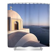 Famous Orthodox Church In Santorini Greece At Sunset Shower Curtain by Matteo Colombo