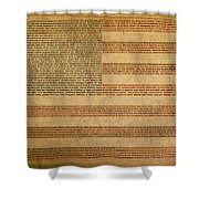 Famous Patriotic Quotes American Flag Word Art Shower Curtain