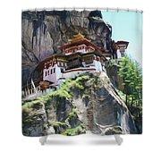 Famous Tigers Nest Monastery Of Bhutan 7 Shower Curtain