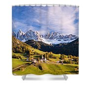 Famous View St Magdalena With Odle Mountains In The Dolomites Italy Shower Curtain