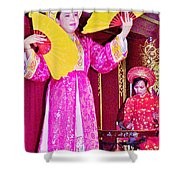 Fan Dancer And Monochord Player In Court Music Show At Citadel Of Nguyen Dynasty In Hue-vietnam Shower Curtain