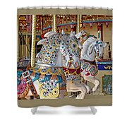 Fanciful Carousel Ponies Shower Curtain
