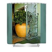 Fancy Gate And Plain Pot Shower Curtain