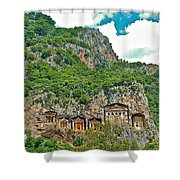 Fancy Tomb Carvings At The Top In Daylan-turkey Shower Curtain