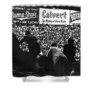 Fans In The Bleachers During A Baseball Game At Yankee Stadium Shower Curtain by Underwood Archives
