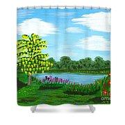 Fantasy Backyard Shower Curtain