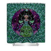 Fantasy Cat Fairy Lady On A Date With Yoda. Shower Curtain