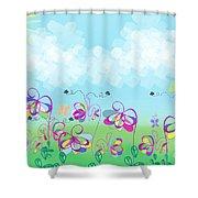Fantasy Flower Garden - Childrens Digital Art Shower Curtain