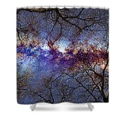 Fantasy Stars Milkyway Through The Trees Shower Curtain