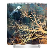 Seagull Gothic Fantasy Surreal Trees And Seagull Flying Shower Curtain