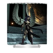 Fantasy Winged Female Warrior Shower Curtain
