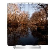 Far Mill River Reflects Shower Curtain