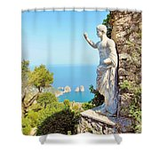 Faraglioni Rocks From Mt Solaro Capri Shower Curtain