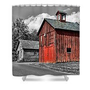 Farm - Barn - Weathered Red Barn Shower Curtain