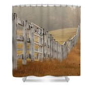Farm Fence On Foggy Autumn Day Shower Curtain