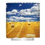 Farm Field With Hay Bales In Saskatchewan Shower Curtain