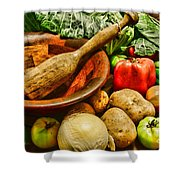 Farm Fresh Food In A Country Kitchen Shower Curtain