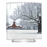 Farm House And Oak Tree Shower Curtain