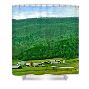 Farm In The Valley Shower Curtain