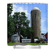 Farm - John Deere Tractor And Silos Shower Curtain
