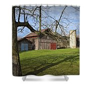 Farm Scene With Barns And Silo Shower Curtain