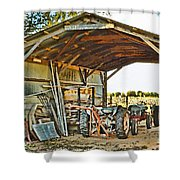 Farm Shed Digital Watercolor Shower Curtain