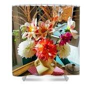 Farm Table Bouquet Shower Curtain