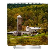 Farm View With Mountains Landscape Shower Curtain