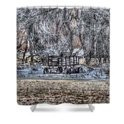Farm Wagon Sitting In The Snow Shower Curtain