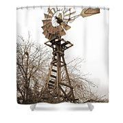 Farm Windmill In Sepia Shower Curtain