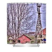 Farm - Windmill - Red Barn Farm - Missouri Shower Curtain