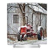Farmall Tractor In Winter Shower Curtain