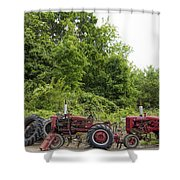Farmall Tractors All In A Row Shower Curtain