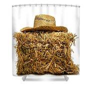 Farmer Hat On Hay Bale Shower Curtain