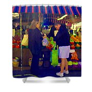 Farmers Market Bushels And Baskets Of Apples Fruit And Vegetables Food Art Scenes Carole Spandau Shower Curtain