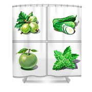 Farmers Market Gifts Green Vitamins Shower Curtain