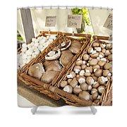 Farmers Market Mushrooms Shower Curtain